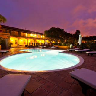 Pool at night at Hacienda de Buen Suceso, luxury hotel in Spain