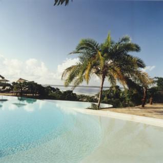 The pool at Fundu Lagoon, luxury hotel in Africa