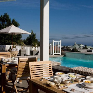The pool deck at Sea Five, uxury hotel in Cape Town, South Africa