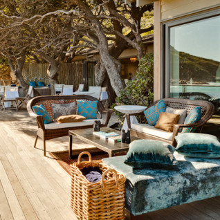 The terrace at Tintswalo Atlantic, luxury hotel in Cape Town, South Africa