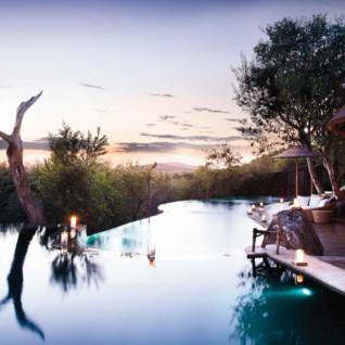 The exterior with pool at Molori Safari Lodge, luxury safari camp in South Africa