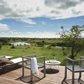 Terrace at Singita Mara River Tented Camp, luxury camp in Tanzania