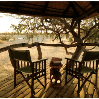 View from verandah at Young Explorers  Camp Kalahari, luxury camp in Botswana
