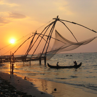 Traditional Fishing Nets on a Keralan Beach