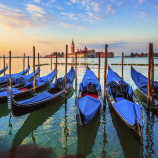 A row of blue gondolas