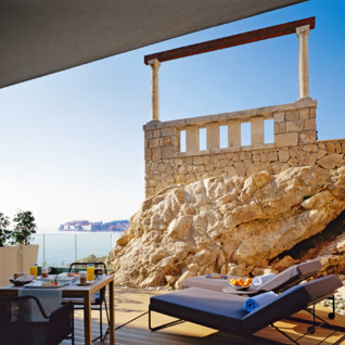 Terrace at Villa Dubrovnik, luxury hotel in Croatio