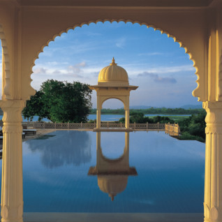 The swimming pool at Oberoi Udaivilas, luxury hotel in India