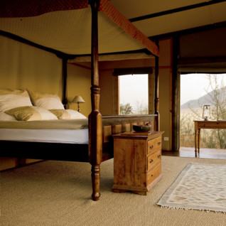 Double bedroom at  Wolwedans Private Camp, luxury camp in Namibia