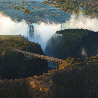 Aerial view of Victoria Falls and bridge