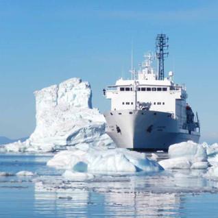 Akademik Ioffe surrounding by ice