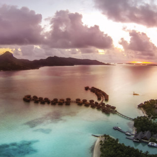 Sunset over the Four Seasons Resort Bora Bora