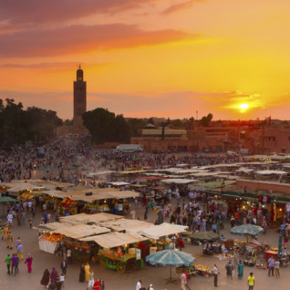 Sunset over market in Marrakesh
