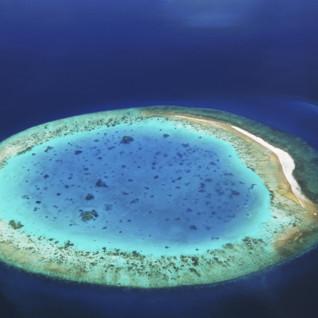 aerial view of desert island maldives