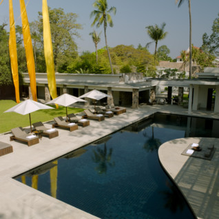 The pool at Amansara, luxury hotel in Cambodia
