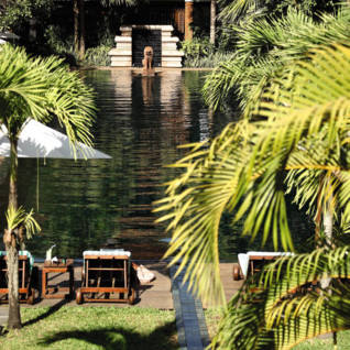 Pool view at La Residence d' Angkor, luxury hotel in Cambodia