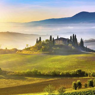 Sunrise in the Tuscan countryside
