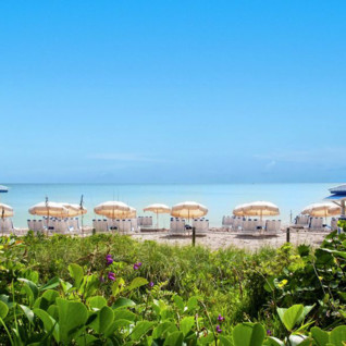 The beach at Soho Beach House, luxury hotel in Miami