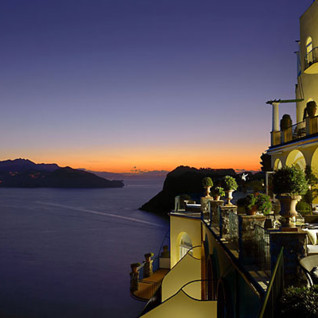 Caesar Augustus hotel at night, luxury hotel in Italy