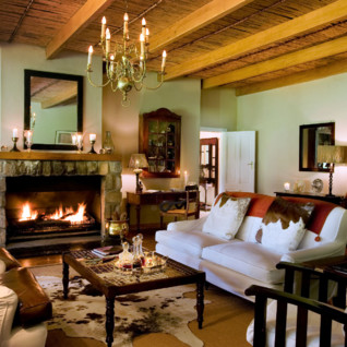 The living room at Samara, luxury hotel in South Africa