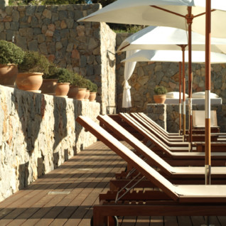 Sunbeds at Son Prull hotel, luxury hotel in Spain