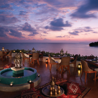 Dining at Four Seasons Landaa Giraavaru, luxury hotel in the Maldives