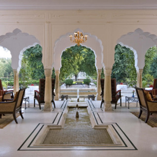 Lounge at Samode Palace, luxury hotel in India
