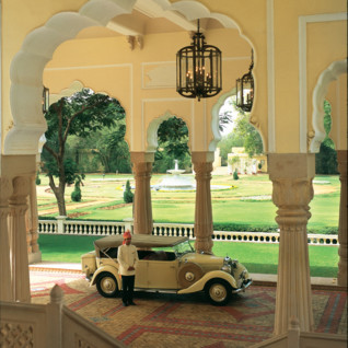 Vintage car at Rambagh Palace entrance