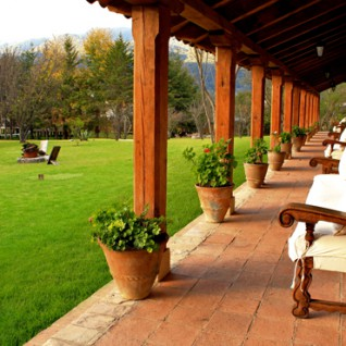 The garden at Parador San Juan De Dios, luxury hotel in Mexico