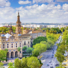 aerial view of seville skyline