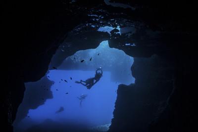 Cave diver in Gozo