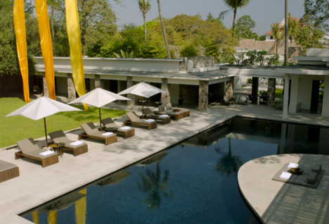 The pool at Amansara, luxury hotel in Cambodia