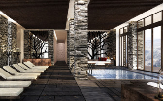 The indoor pool at Alila Jabal Akhdar hotel