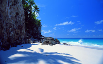 Picture of small white sandy beach Seychelles