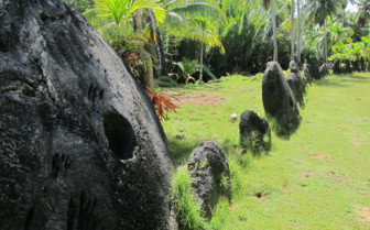 Picture of stone money on Yap island