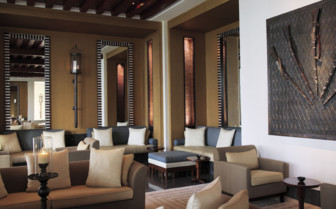 The lobby lounge at The Chedi hotel