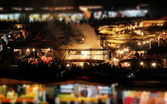 View of Marrakech market at night