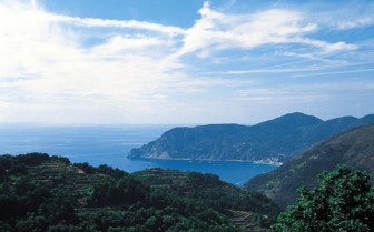 View across the Italian hills and sea