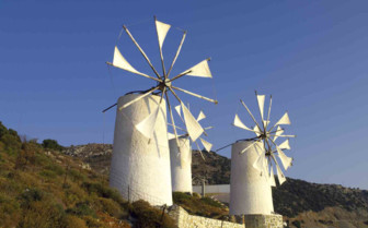 Hillside Windmills in Crete
