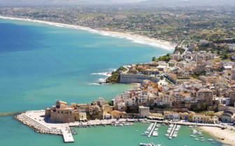Aerial view of Sicilian coast