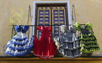 Flamenco Dresses Hanging on a Balcony