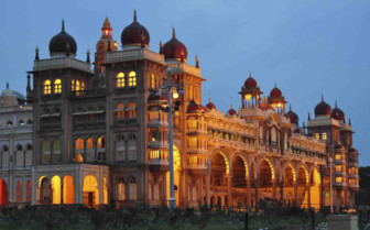 Palace lit up