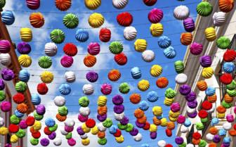 Paper Lanterns Decorating an Andalucian Street