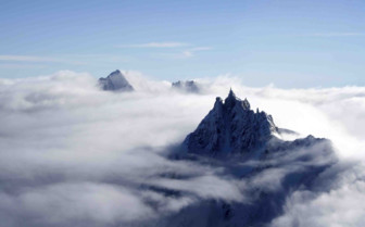 Misty mountains of Chamonix