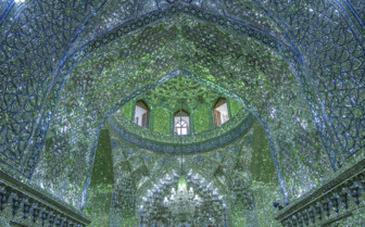 A Blue and Green Cut Glass Domes Ceiling