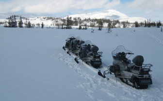 Parked Snowmobiles