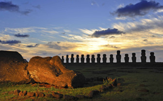 Moai Silhouetted at Sunset on Easter Island