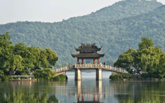 Bridge and Temple over the Lake
