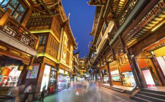 Brightly Lit Street in Yuyunan Gardens - Shanghai