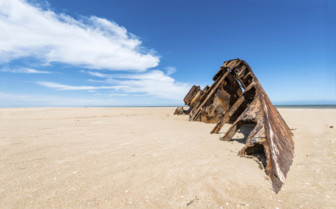 A Rusted Barge on El Barco Beach