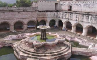 Aerial View of a Church Courtyard